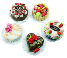 Lovely Mixed 5 Assorted Cake Dollhouse Miniature Food,Tiny Food, Barbie Food