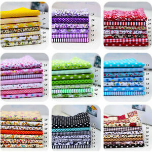 """7Pcs Cotton Fabric Assorted Pre Cut Charm Quilt  DIY Craft Gift 10""""Squares"""