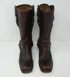 Frye 77270 Harness Leather Buckle Square Toe Moto Boots Brown Women's US 7.5