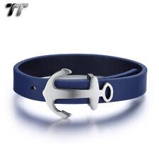 TT Blue Leather 316L Stainless Steel Ancor Bracelet Wristband Ajustable BR260