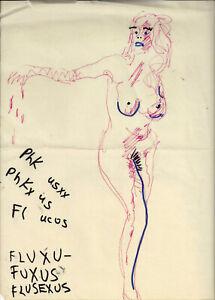 "PAUL SHARITS FLUXUS FLUX FASHION ""X"" RAGS DRAWING FLUXGLAM FLUSEXUS RARE NUDE !!"