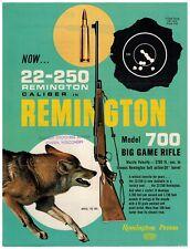 1 Sheet Flyer for Remington 22-250 Model 700 Big Game Rifle circa 1960s