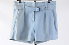 Theory Ettie baby blue 10 M leather pleated high waisted shorts pant NEW $895