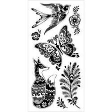 INKADINKADO RUBBER STAMPS CLEAR FANCY FAUNA NEW STAMP SET