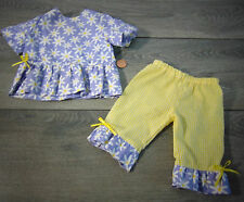 "18"" Doll Clothes DAISY TOP & YELLOW GINGHAM PANT Outfit For American Girl Dolls!"