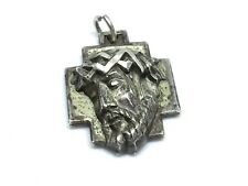 Vintage Deco Creed Sterling Silver 925 Heavy Jesus Face Pendant (17.3g)