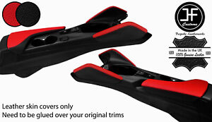 BLACK & RED  2X KNEE PAD LEATHER & ARMREST COVERS FOR CHEVROLET CAMARO 16-20