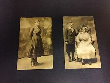 (2) ANTIQUE PHOTOS BOY AND GIRL IN CHAIR BLACK AND WHITE POSTCARDS