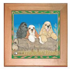 """Cocker Spaniel American Cocker Dog Kitchen Ceramic Trivet Framed in Pine 8"""" x 8"""""""