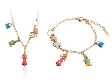 Jewelry Set Ladies Pendant Necklace Bracelet With 750er Gold Plated Charm Figure