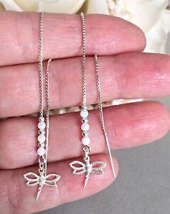 Threader Earrings Chain Opal Dragonfly Sterling Silver 925 FloweRainboW