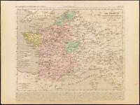 1859. France Charles VII. Carte géographique ancienne Houze. Gravure
