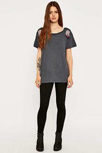New luxury Denim & Supply Ralph Lauren grey cotton beaded t-shirt top women's M