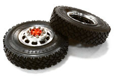 INTEGY RC C26571RED F Wheel & XC Tire Set for Tamiya 1/14 Scale Tractor Trucks