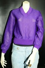Vtg Sweater Purple Montgomery Ward 1980's Small Petite V-neck See Through Sexy