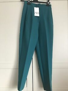 Zara High Waisted Trousers Turquoise BNWT Size S