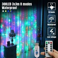 Curtain String Fairy Light Bedroom Wedding Lighting Waterfall 300 LED USB Remote