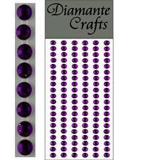 120 x 5mm Purple Diamante Self Adhesive Strips Rows Rhinestone Craft Gems