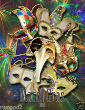 2014 Mardi Gras Poster/ New Orleans/11x14 inches/Masks/Beads/Bourbon Street