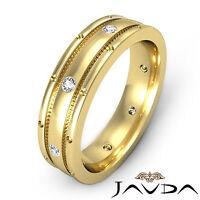 Matt Finish Solid Ring 18k Yellow Gold Diamond Mens Eternity Wedding Band 0.16Ct