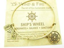 Wind and Fire Ship's Wheel Gold Charm Wire Bangle Stackable Bracelet USA Gift