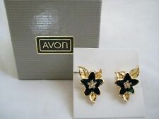 Vintage Avon PRETTY BLOSSOM Flower Earrings Green Enamel RS & Gold Tone NIB