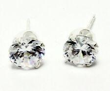 Mens Ladies Sterling Silver 925 Cubic Zirconia CZ Stud Earrings Jewelry