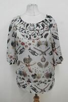 TED BAKER Ladies Off White Flowers Printed Ruffled Neckline Blouse Top Size 1/S