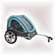 Folding 2 Child Bike Trailer Light Blue Kid Twin Carrier Bicycle Toddler Pet Dog