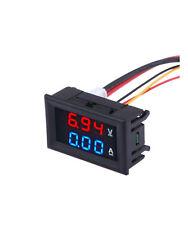 Quality DC 100V 10A Voltmeter Ammeter Blue + Red LED  #19