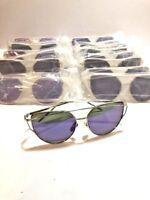 *Wholesale* Women's Mirrored Cat Eye Twin Beam Sunglasses Purple  *LOT OF 25*