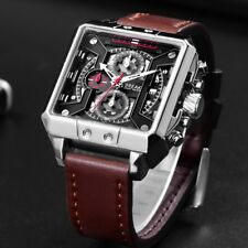 Chronograph Men's Watches Luxury Swiss Quartz Leather & Square Stereoscopic Dial