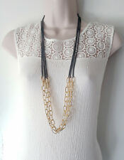 "Gorgeous 36"" long Gold tone & hematite / dark grey layered chain necklace"