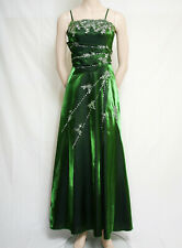 LONG STRAP GREEN SATIN EVENING PROM DRESS FLORAL SEQUINS CHERLONE SIZE 16/18
