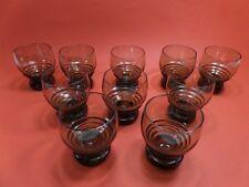lot de 10 verre ancien fumé marron bullé /vintage 70'S french bistrot glasses -