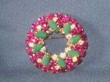 Vintage Signed SHERMAN Gold-Tone Metal Pink Clear Green Rhinestone Pin Brooch