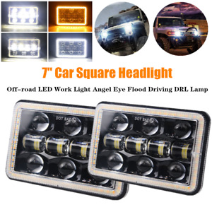 2PCS 7inch H4 Off-road SUV LED Work Light Angel Eye Aperture Flood Driving Lamp