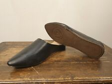 Pointy Babouche slippers shoes leather handmade in morocco black 3 cm heel