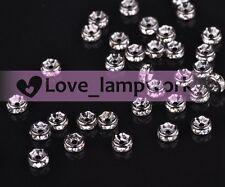 10/50/100Pcs 4mm Rondelle Crystal Rhinestones Metal Spacer Bead Jewelry Findings