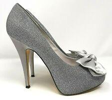 Menbur Ladies Platform Shoes UK 7 Silver Sparkle Peep Toe Bow Stiletto Heels