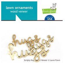 Lawn Fawn Embellishments ~ Wood Veneer ~ SCRIPTY HUGS  Affection  ~ 3ct ~LF872