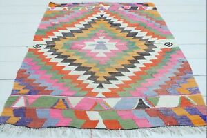 "Doormat, Turkish Antalya Small Kilim Bathmat Small Area Rug Carpet Tapis 37""x48"""