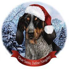 Holiday Pet Gifts Blue Tick Coonhound Santa Hat Dog Porcelain Christmas Ornament