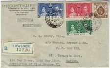 Hong Kong 1937 Coronation registered cover Kowloon to Dairen Manchuria China