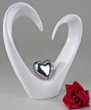 CB112 Skulptur Figur Objekt mit Herz aus Keramik silber Höhe 24cm