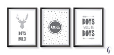 Home Decor - Boys bedroom grey A4 Prints (x3) - personalised