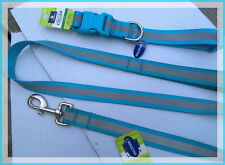 2 ITEMS! Top Paw Reflective Aqua Sky Blue Dog Collar AND Leash SET  L