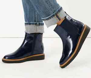M&S Navy Patent Leather CHELSEA FLATFORM Boots with Insolia Flex UK 5 / EUR 38