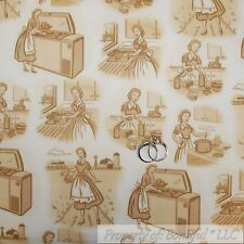 BonEful Fabric FQ Cotton Quilt VTG Cream Brown L Lady Dress Apron Bake Cook Chef