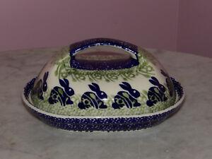 Polish Pottery Fancy Butter Dish! Bunny Pattern!